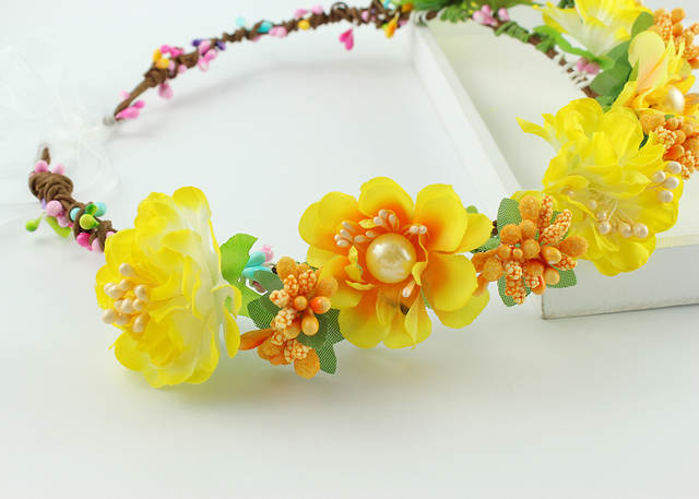 Online Shop Handmade Yellow Fabric Flower Crowns Headband Bridal