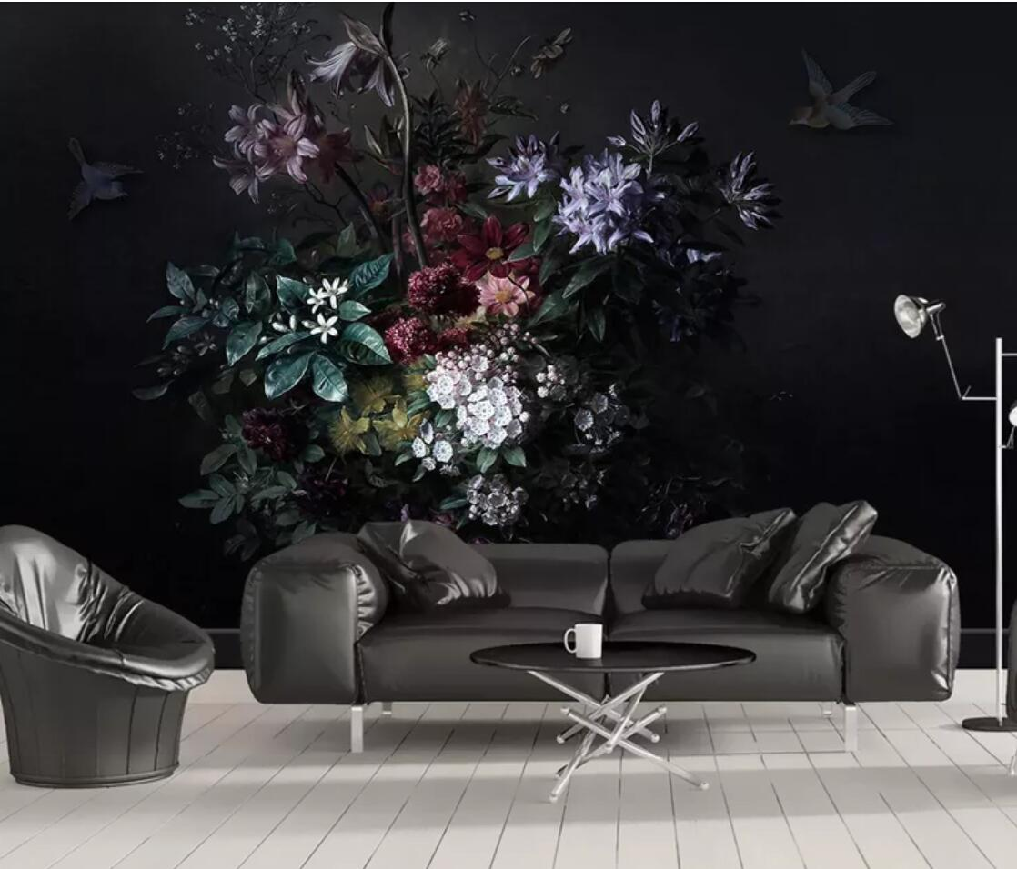 Nordic Modern Flower Photo Wallpaper Rolls For Living Room Bedroom