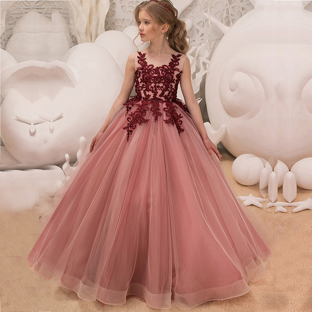 d6c4a77616e Kids Dresses For Girl Tulle Sleeveless Lace Appliques Bridesmaid Flower  Girls Dress Elegant Princess Birthday Party Wedding Gown