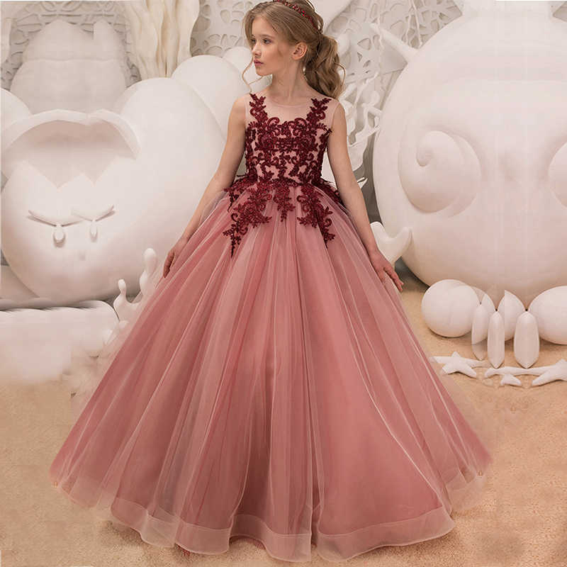 Kids Dresses For Girl Tulle Sleeveless Lace Appliques Bridesmaid Flower  Girls Dress Elegant Princess Birthday Party 3dcd878df676