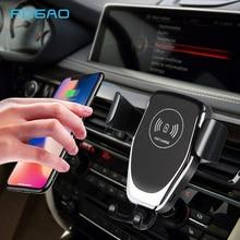 Qi 무선 자동차 충전기 아이폰 11 프로 xs 최대 xr x 8 중력 전화 홀더 10 w 빠른 자동차 무선 충전기 삼성 s10 s9 s8