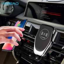 Qi Wireless Car Charger for iPhone XS Max XR 8 Gravity Phone Holder 10W Fast Samsung S10 S9 S8 Note 9
