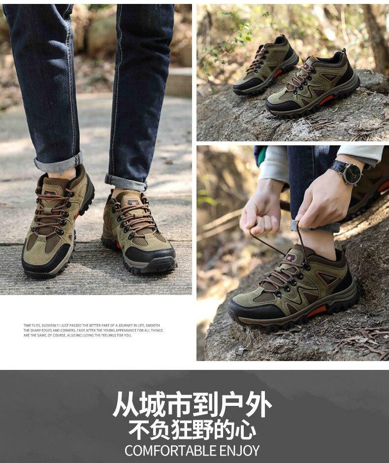 Moda couro sapatos de trekking para homens