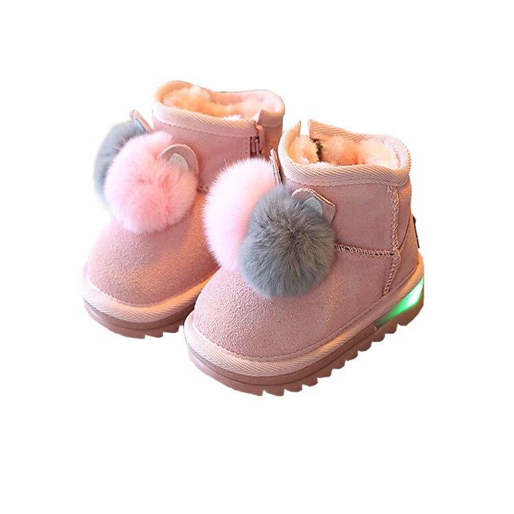 0~18 Months Baby Girl Winter Warm Snow Genuine Leather Boots with Rabbit Fur Bota Infantil Infant Shoes Newborn Bebek Bot
