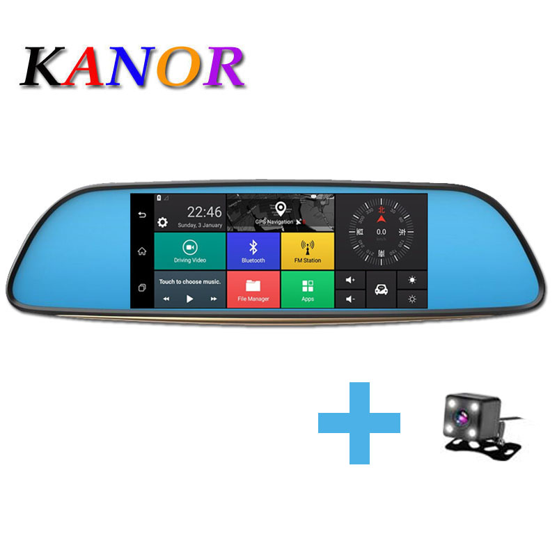 KANOR 7 1280*720 Touch Screen Android 5.0 dash camera parking car dvrs Rearview mirror video recorder Car DVR Camera GPS bigbigroad car dvr for toyota avensis blue screen rearview mirror video recorder car parking camera black box night vision
