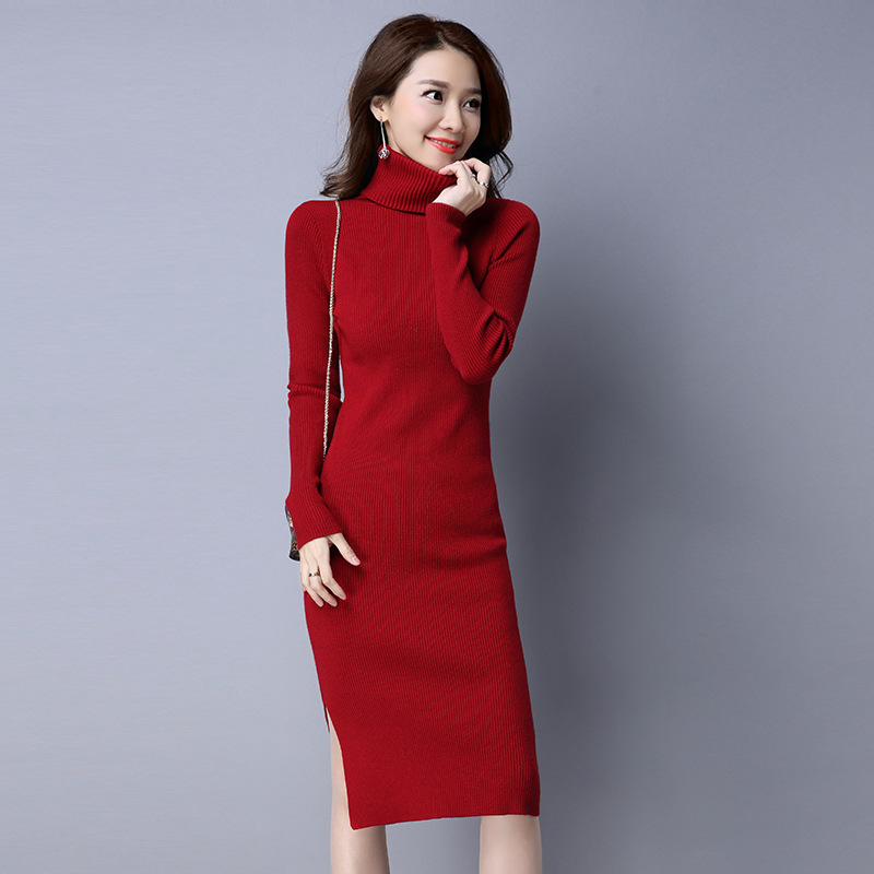 Women's Fashion Wool Knitted Turtleneck Medi Sweater for Autumn and Winter Season