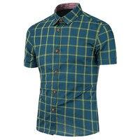 [Asya boyutu, değil ABD/AB boyutu] Sıcak satmak gömlek İnce slim fit ekose gömlek erkek İngiliz tarzı kısa kollu gömlek casual erkek gömlek