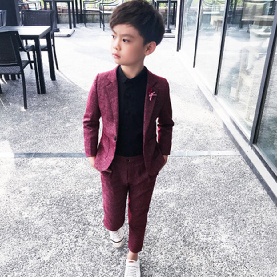 Kids Party Wear 2Pc Boys Formal Suit For Wedding Party 2019 Toddler Boy Blazer Suit Student School Ceremony Costumes