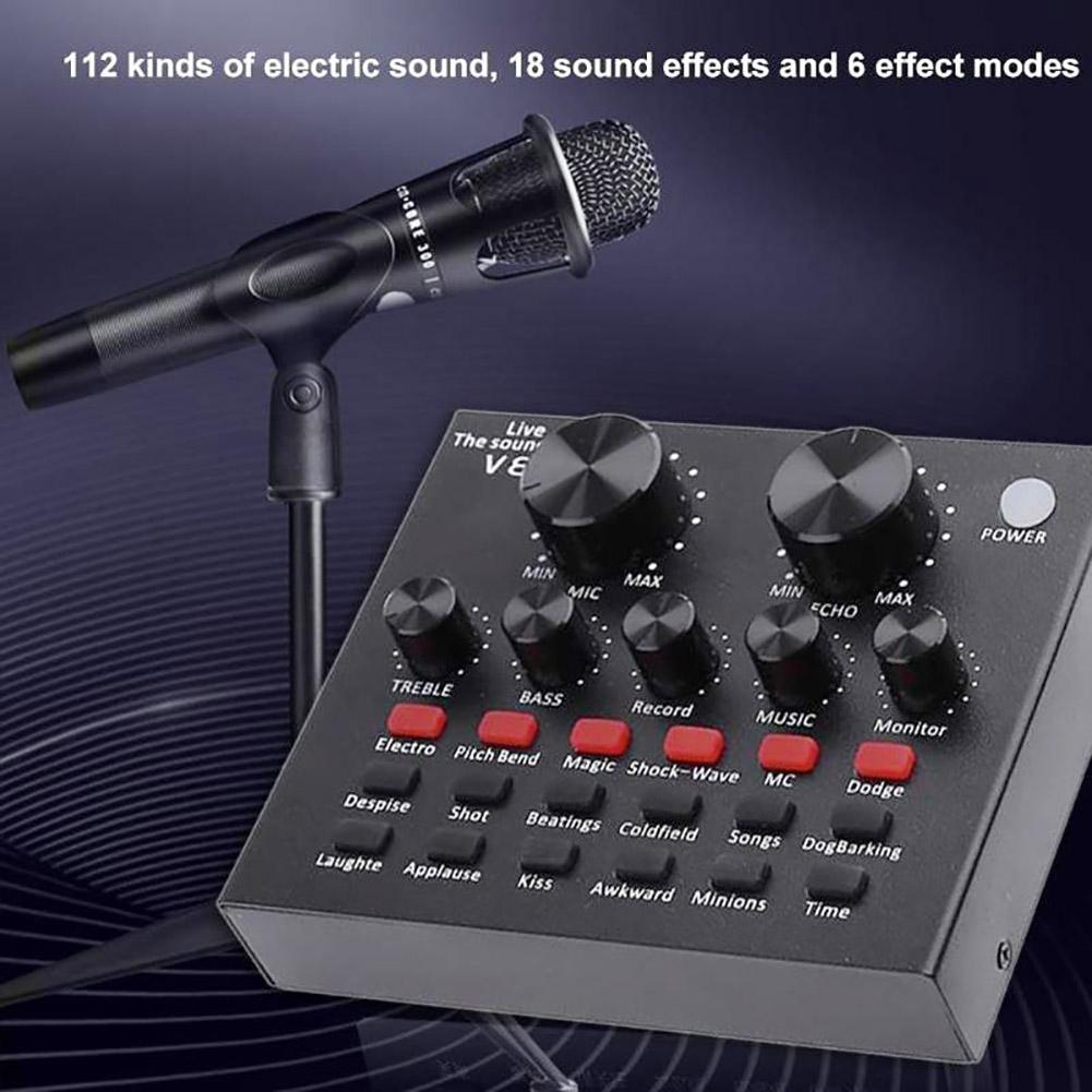 цена на 2018 Audio USB Microphone K Song Live Broadcast Sound Card for Mobile Phone Tablet PC