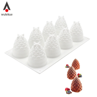 Wulekue 3D Silicone Molds 8 Holes Pinecones Shape Baking Tools For Cakes Mousse Ice Cream