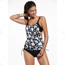 2016 Summer Sexy Flower Print vintage Swimwear For girl Black Bathing Suit big Size Women Swimsuit novel Two-Piece For Female