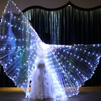 2018 Belly Dance ISIS LED Wing For Adult Oriental Butterfly Wings Dance White Color Back Open Bellydance Wings Accessories