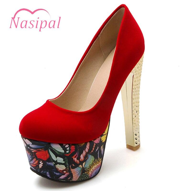 Femmes forme Rouge Noir Femme Nasipal Très Talon Rond Parti Bout Haute Sexy De M60 Noir Profonde Peu rouge Chaussures Pompes Plate Mariage Concise ATtST