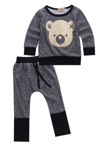 2pcs Toddler Infant Baby Boy Girl beer head long sleeve o-neck Black border Sweat +patchwork Pants Outfit Clothes Set Size 0-4Y