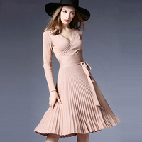 2017 New Autumn Winter Vintage Pleated Dress Women Solid Knee length Long Sleeved Empire Sexy V neck Elegant Knitted Dresses