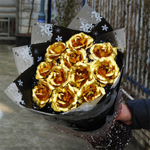 24k Gold Foil Rose Bouquet Wedding Valentines Day Birthday New Year Gift Flower Artificial Scented Home 11pcs