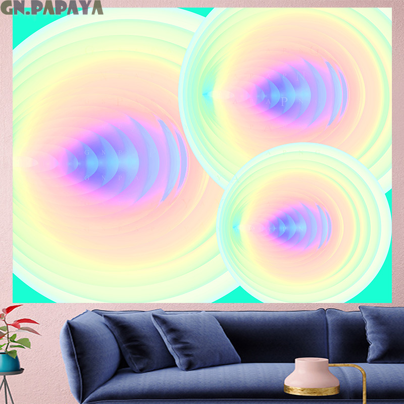 Rainbow color Vortex hippie wall hanging structure macrame Tapestries Psychedelic Wall carpet Hanging Yoga Mat Home Decor