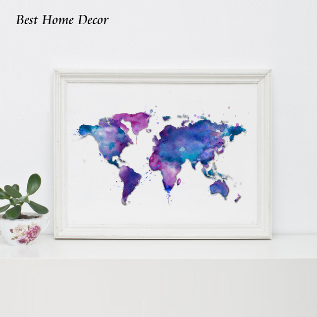 Original watercolor world map art poster blue poster landscape original watercolor world map art poster blue poster landscape world map wall art wall hanging suit gumiabroncs Images