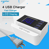 Universal 4 Port USB Wall Charger Smart Lcd Display Fast Charging Mobile Phone Charger Desktop Power Socket Adapter Stand Holder