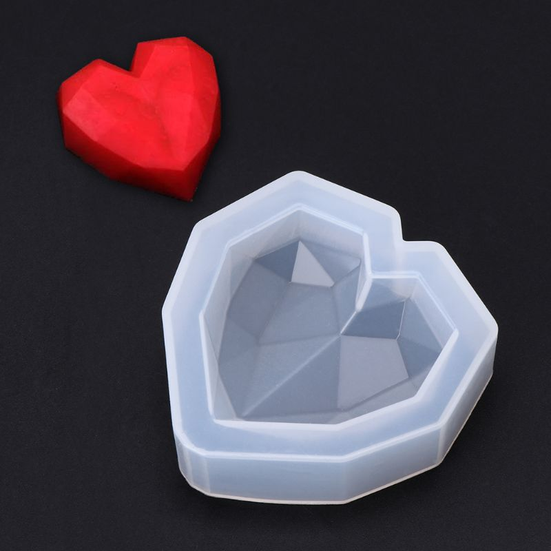 Silicone Mold Mirror Heart Shaped Cutting Face DIY Jewelry Making Pendant Cake Chocolate Bakery Tools Epoxy Resin UV Molds