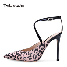 Women High Heel Pumps Pink Leopard Pointy Toe Heeled Slingbacks Sexy Dress Heels Party Shoes Ladies Summer Shoes Plus Size 2018