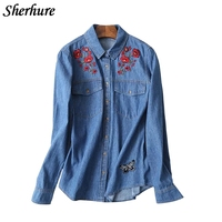 2018 New Spring Women Denim Shirts Floral Embroidery Long Sleeve Turn Down Collar Women Shirts Femme