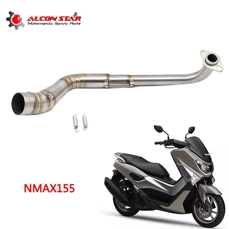Alconstar-acier inoxydable moto tuyau d'échappement Scooter avant de tuyau d'échappement sans lacet système complet adapté pour YAMAHA NMAX 155
