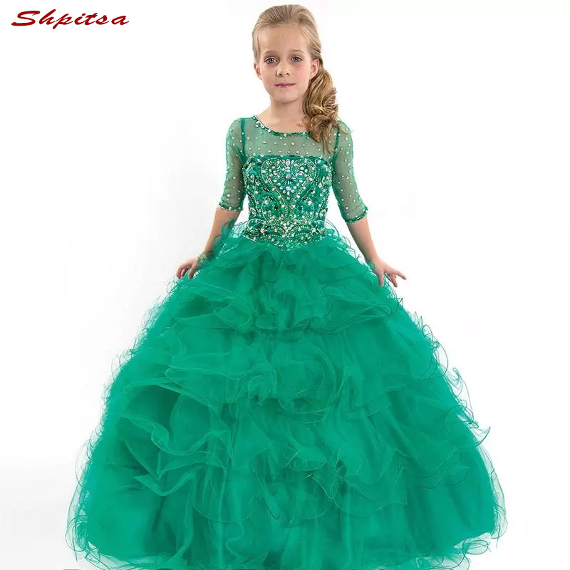 Hunter Green Lace Flower Girl Dresses for Weddings Evening Flowergirl First Communion Pageant Dresses for Wedding Girls
