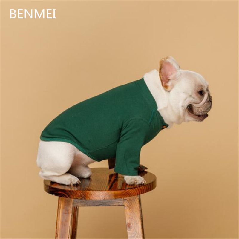 BENMEI Cotton Dog Hoodies Clothes For Small Dogs Chihuahua French Bulldog Dog Shirts In Dog Clothing Solid Pet Puppy Cat Clothes