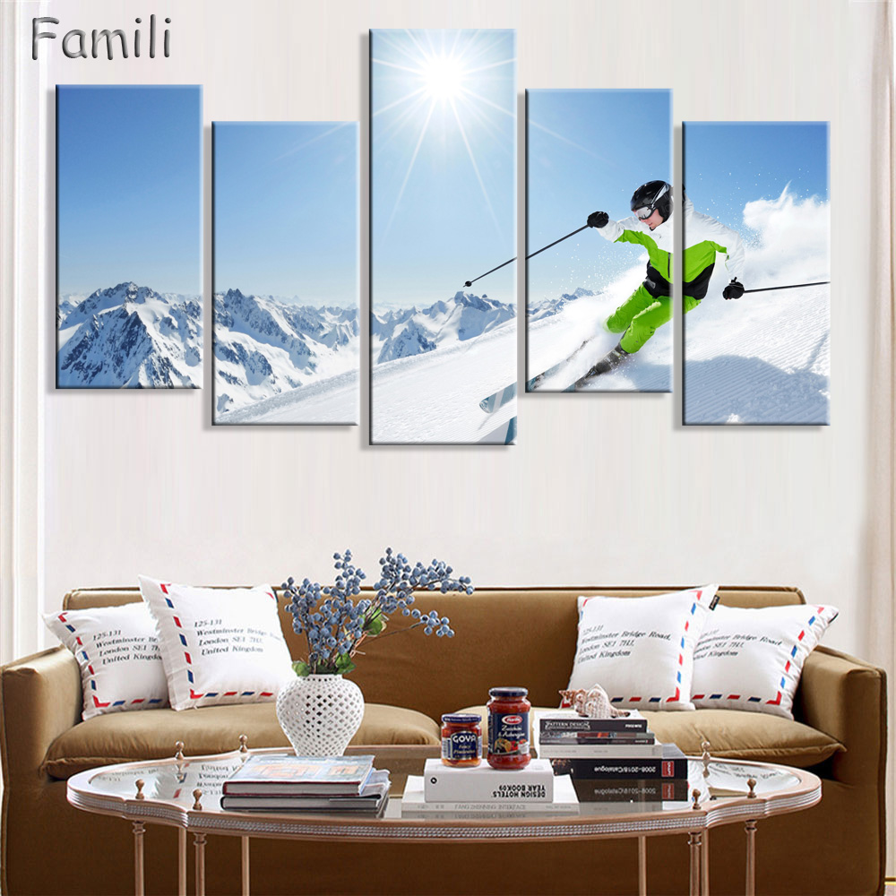 5pcs set surf on the sea canvas printings ski doo freeride for Art for house decoration