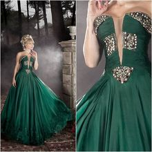 Emerald Green 2016 New Charming Beading Chiffon Sweetheart Ball Gown Sexy Long Prom Dresses For Wedding