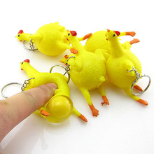 Novelty Spoof Tricky Funny Gadgets Toys Vent Chicken Whole Egg Laying Hens Crowded Stress Ball Keychain 88 775 YJS Drops