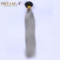 Dreamme Remy 1B/ Grey Straight Human Hair Bundle Ombre Brazilian Human Hair Weave Extension 1 Bundle Free Shipping