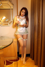Shanghai Story maid voir à travers dentelle dentelle garniture tablier et jupe Spaghetti sangle Sexy cosplay robe Top + sous-vêtements(China)