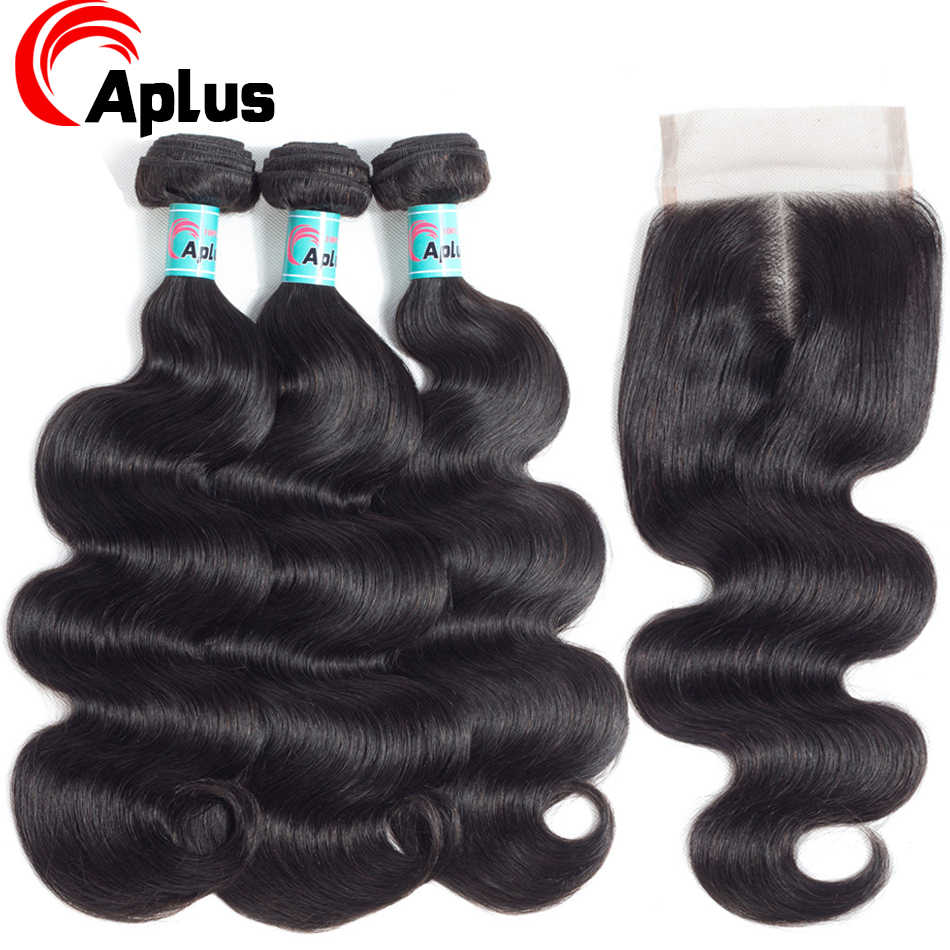Aplus 3Bundles Brazilian BodyWave With Closure Hair Weave Bundles With Closure NonRemy Human Hair Bundles With Closure 100% Hair