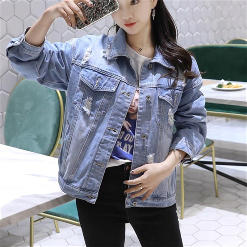 Women   Basic   Coats Spring Autumn Boyfriend Holes Denim   Jacket   2018 Vintage Long Sleeve Loose Female Jeans Coat Casual Outwear