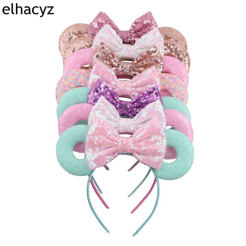 10pc/lot Hot Sale Macaron Sequin Minnie Mouse Ears Hairband Sequin Donut Ears Headband Kids Girl Birthday Party Hair Accessories