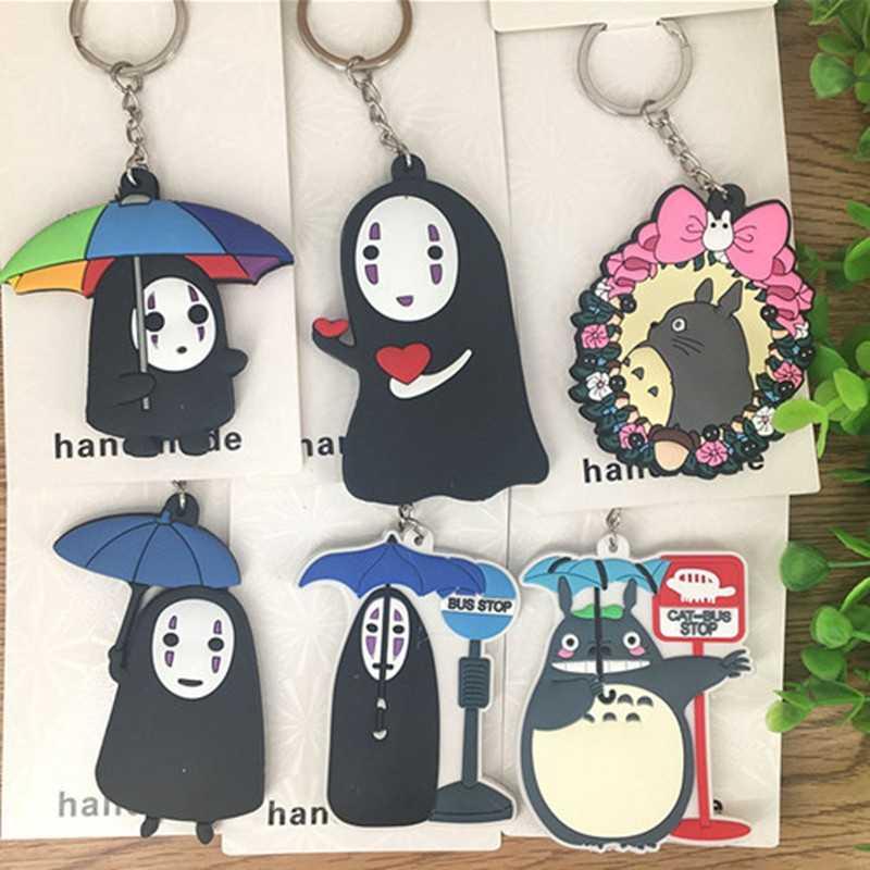 Crianças Brinquedos Kawaii Totoro Sem Rosto homem Dos Desenhos Animados Figuras Anime Brinquedos para Crianças Keychain 3D Dupla Face Brinquedos Figuras de Ação dom PVC