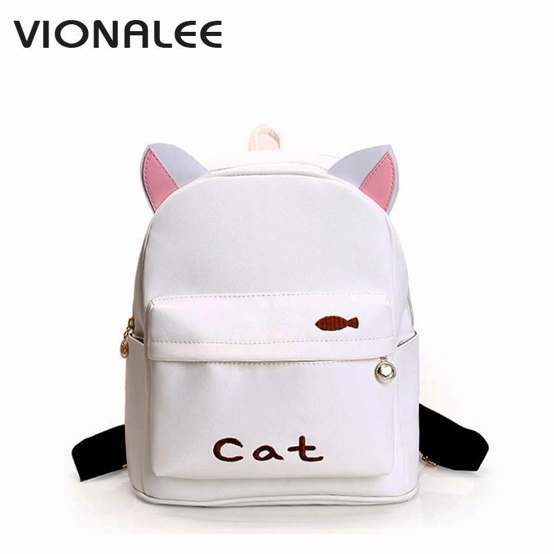 Cat Bagpack Bags Women Shoulder Bag Backpack Cat Small Pink Womens Kawaii Backpack Schoolbag For Teenager Ear Backpack babe под подгузник защитный 100 мл
