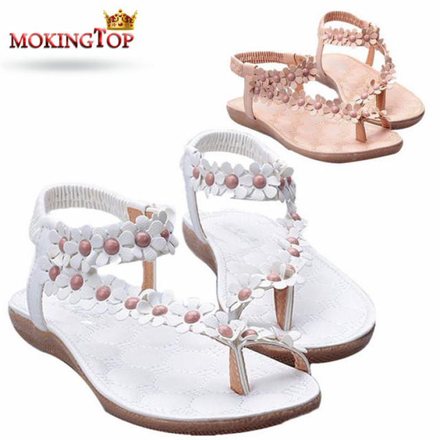 cc8092ac7aa0 MOKINGTOP Bohemia Beaded floral woman Sandals Ladies Flats Beaded elegant  Flip-flops summer 2018 womans Sandal Beach shoes W