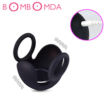 USB Charge Cock Ring Vibrator Double ring Scrotum Binding Vibrating Penis Ring Delay Ejaculation Dildo Extender Sex Toys For Men