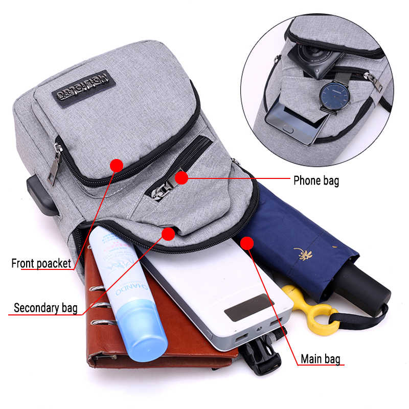 Male Shoulder Bags USB Charging Crossbody Bags Men Anti Theft Chest Bag School Summer Short Trip Messengers Bag 2019 New Arrival