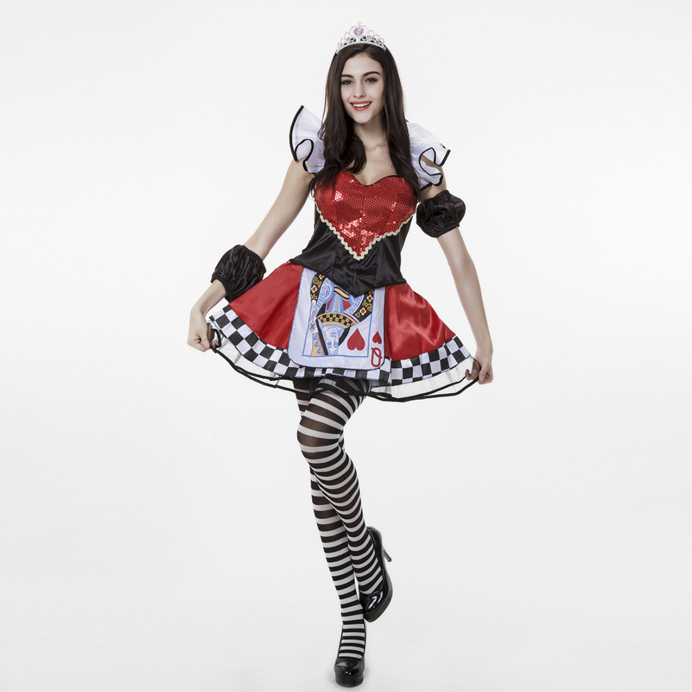VASHEJIANG Adult Red Poker Queen of Hearts Costume paillette Deluxe Queen of Heart Cosplay Costumes For Halloween Party Dress