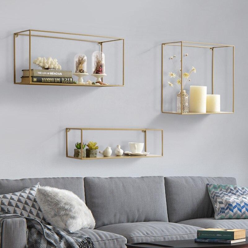 Nordic minimalist wrought iron wall partition racks living room wall decoration creative wall shelf shelf - 3