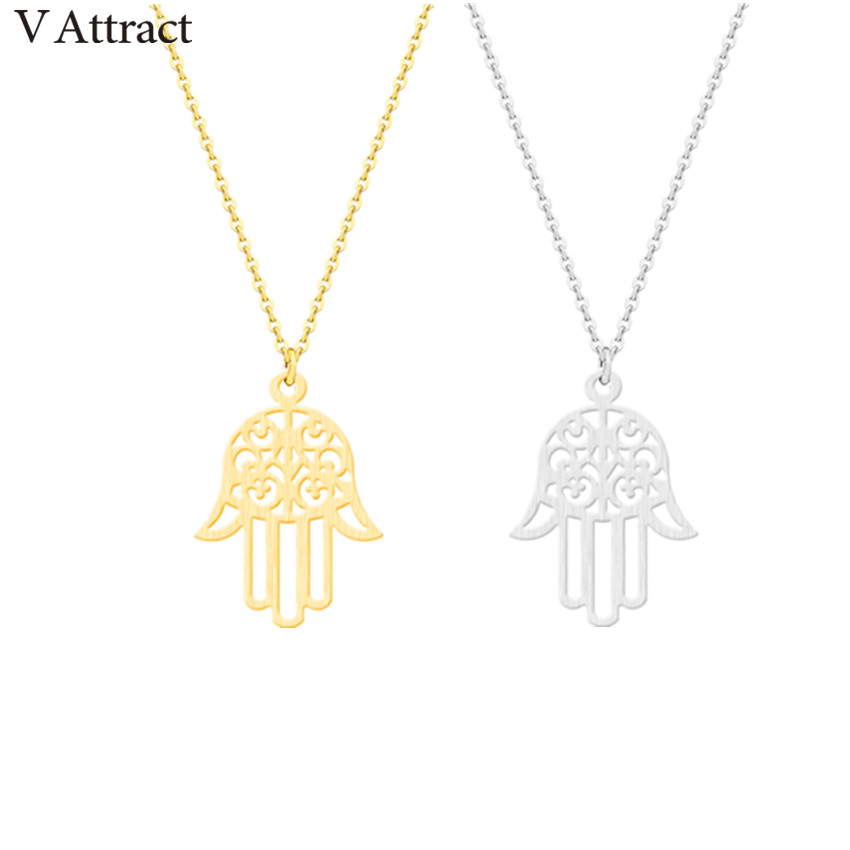 2e08d89e8f07b US $14.96 12% OFF|V Attract 10pcs Vintage Hasma Hand Necklace Yoga Jewelry  Stainless Steel Gold Silver Chain Women Punk Choker Bijuteria-in Pendant ...