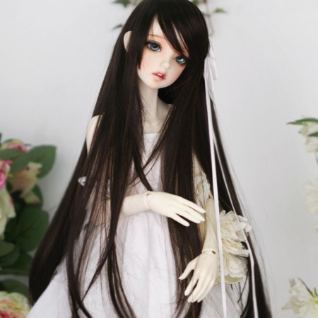 1/3 1/4 Bjd Sd Doll Parykk Høy Temperatur Lang Svart Straight Hair For Girl Doll Parykk Gratis Frakt