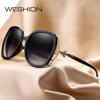 WESHION gafas De Sol mujer polarizada Retro clásico gafas De Sol espejos  marca diseñador 2018 nuevo UV400 Oculos De Sol Feminino c59d991227c1