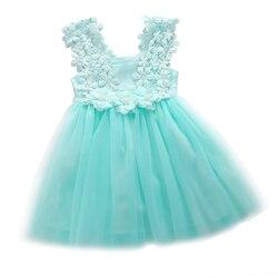 Citgeett verão moda bebê meninas princesa rendas tule flor tutu sem costas vestido de festa formal vestido 2-7y ss