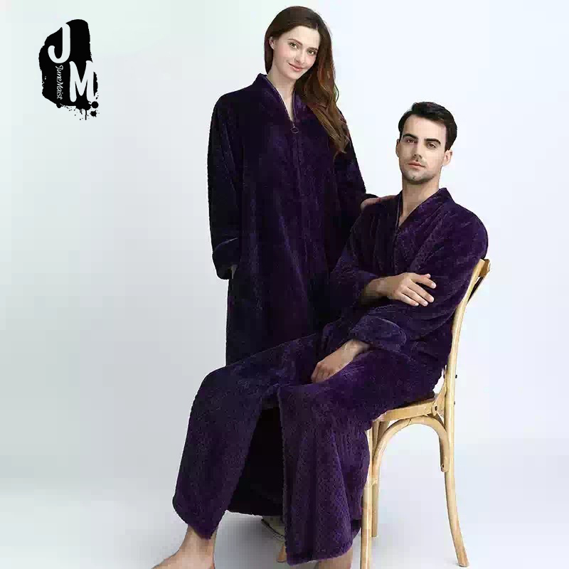 Winter Bathrobe Women Pajamas couples long thick Bath Robe Sleepwear man Robes Coral Velvet Cartoon Nightgowns Homewear