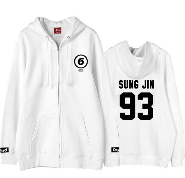 US $26 42 42% OFF|Autumn winter day6 day 6 member name printing zipper  hoodie for kpop fans fashion loose fleece sweatshirt-in Hoodies &  Sweatshirts